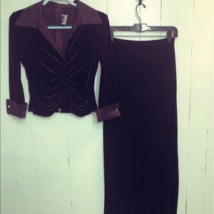 Tadashi Velvet Top w/ Matching Skirt
